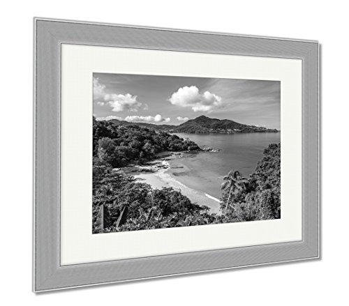 Natural Wood Aqua Liquid (Ashley Framed Prints Laem Sing Beach Phuket Thailand, Contemporary Decoration, Black/White, 26x30 (frame size), Silver Frame, AG5889673)