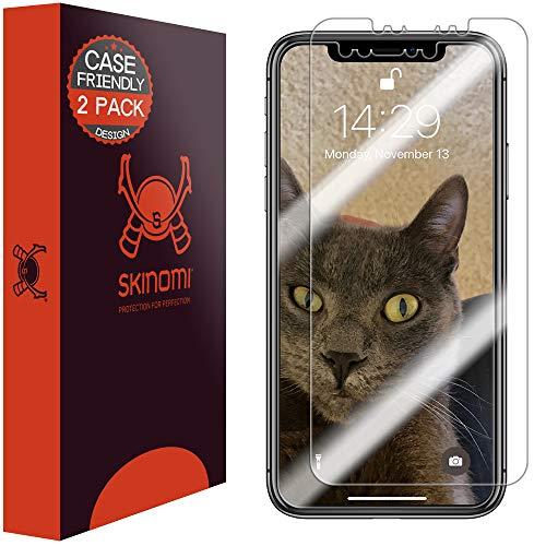 Apple iPhone Xs Max Screen Protector (Case Compatible)(6.5)(2-Pack), Skinomi TechSkin Full Coverage Screen Protector for Apple iPhone Xs Max Clear HD Anti-Bubble Film