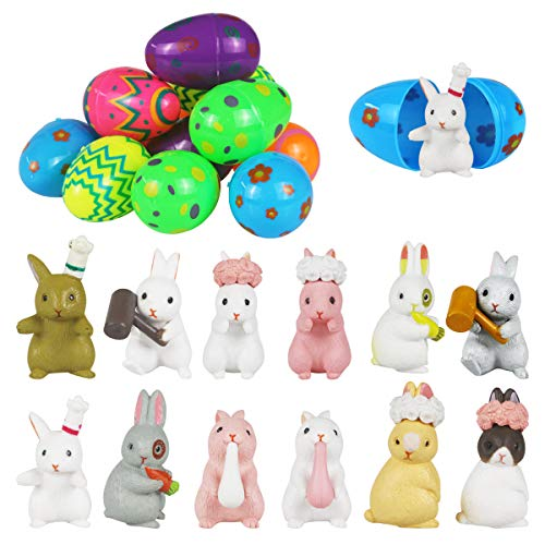 Mitcien 12 Pcs Easter Eggs with Bunny toys, Easter Eggs filled with toys, Surprise Plastic Colorful Easter Egg Toys for Easter Eggs decoration