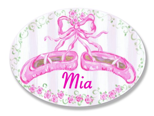 The Kids Room by Stupell Mia, Pink Ballet Slippers Personalized Oval Wall Plaque - Princess Plaque Personalized