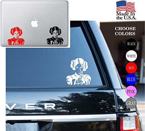 Adhesive Face Decal - Star Wars Princess Leia Organa Face Jedi Knight May The Force Be With You Vinyl Decal Sticker - Car Window, Laptop Skin, Wall, Mac (5.5