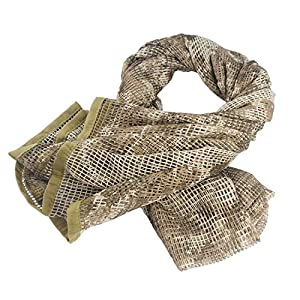 Wildoor Tactical Military Neck Scarf Mesh Net Sniper Veil Srim Net Cover Shemagh Head Face Wrap Multifunctional Army KeffIyeh for Airsoft Hunting Concealment 190cm x 90cm Camouflage Printed