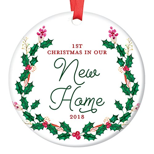 Estate Glaze (New House Ornament 2018, 1st Christmas in Our New Home Dated Year, First Homeowners Ceramic Present Congratulations Keepsake Real Estate Agent 3