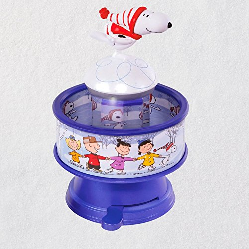 Hallmark Keepsake Christmas Ornament 2018 Year Dated, The Peanuts Gang Snoopy Skates! With Music, Light and ()