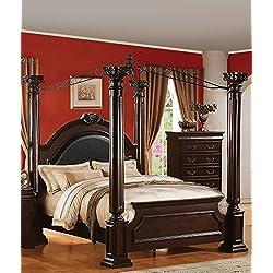 ACME 21340Q Roman Empire II Bed, Queen, Dark Cherry Finish