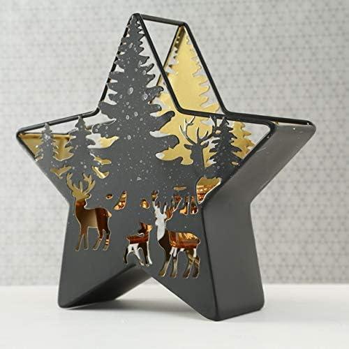 CasaJame Hogar Jard/ín Decoraci/ón Interi/ór Accesorios Adorno Candelabro Farol con Vela Decorativa en Forma de Estrella Motivo Bosque Ciervo 24 x 25 x 8 cm