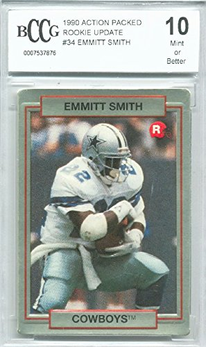 - 1990 Action Packed #34 Emmitt Smith Rookie Graded BCCG 10