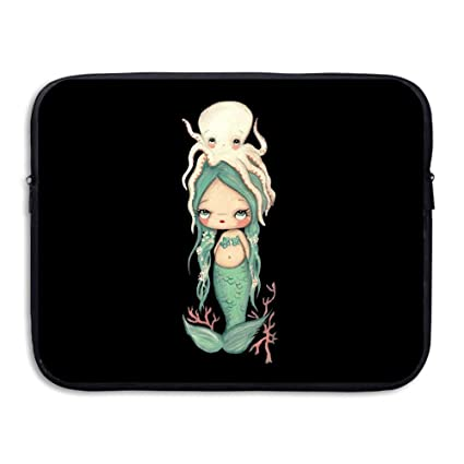 19b142049f3 Amazon.com: Tataoceanie Baby Octopus and Baby Mermaid Laptop Sleeve Bag  Water-Resistant Neoprene Notebook Computer Case Carrying Bag for Men  Womens: ...