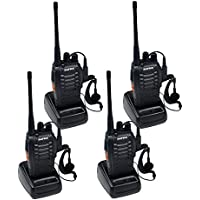 BaoFeng BF-888S (Pack of 4) Handheld 5W Two Way Ham Radio Walkie Talkie with Earpiece Built in LED Torch