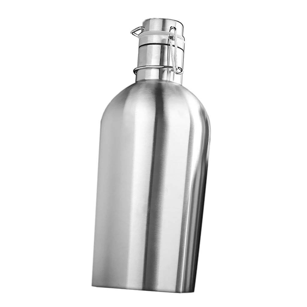 MagiDeal Swing Top Hip Flask Stainless Steel Home Brew Beer Growler Bottle Silver - Silver, 2L