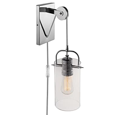 Globe Electric 65946 Nordhavn 1-Light Plug-in or Hardwire Wall Sconce, Chrome