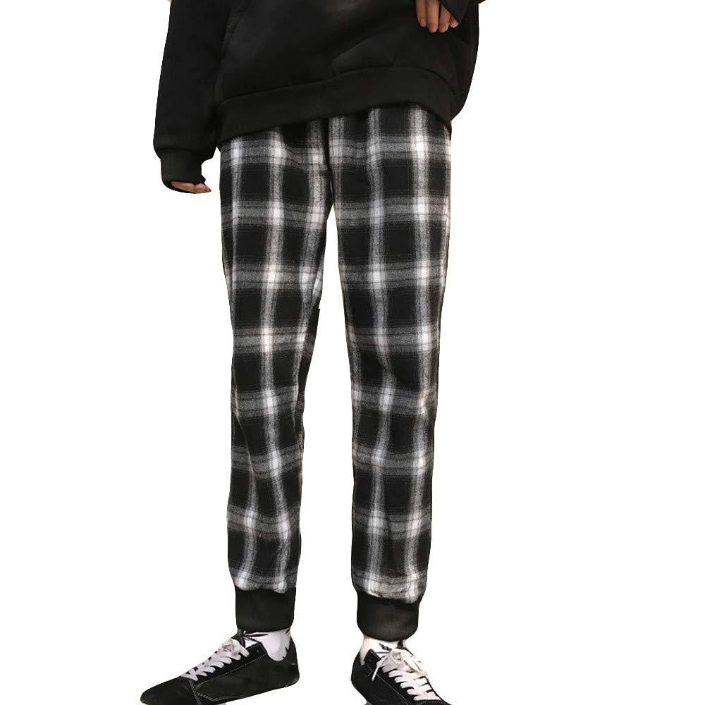 Spbamboo Mens Fashion Pants Unisex Lattice Leggings Casual Couple Slim Trousers