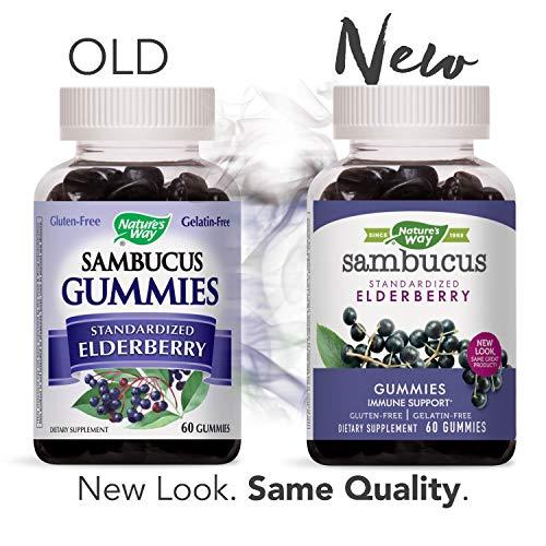 Nature's Way Sambucus Elderberry Gummies, Herbal Supplements with Vitamin C and Zinc, Gluten Free, Vegetarian, 60 Gummies by Sambucus (Image #1)