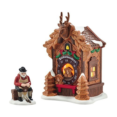 Department 56 Alpine Village Christmas Market Black Forest Clocks Lit Building and Accessory (4054960)