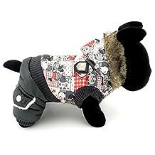 SELMAI Small Dog Winter Jumpsuit Outfits Pet Coat Fleece Lined Bear Pattern Hooded Vest Jacket Cat Puppy Clothes Black L