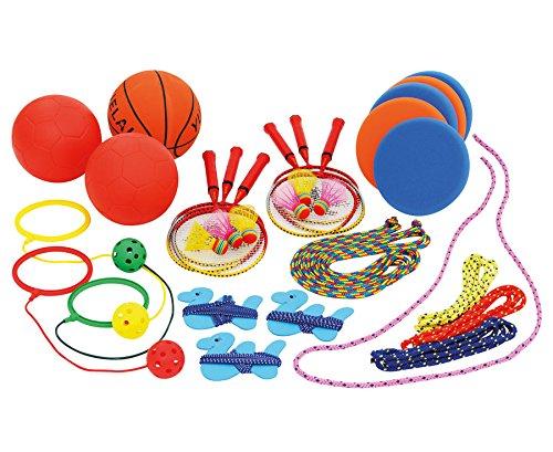 Betzold Spielzeugkiste, 22 abwechslungsreiche Spiele, Kinder Spielbox, Spielkiste, in stabilen Box zum Rollen, Spielekiste Kindergarten Kinderkrippe Kita Pausenspiele