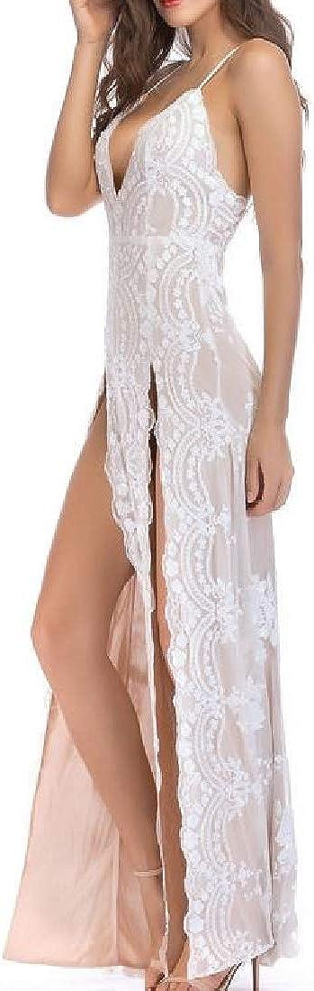 Sweatwater Womens Irregular V-Neck Sequins Backless Split Spaghetti Strap Maxi Dresses