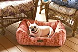 Pet Trendy Modern Chic Trellis Thick Bolstered-Microfiber Machine-Washable Pet Bed for Dog and Cat, 17-Inch x 22-Inch x 7-Inch, Spice
