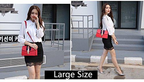 Macton MC-9008 Bolso para mujer, con correa para llevar en bandolera, cuero auténtico Large Size Red