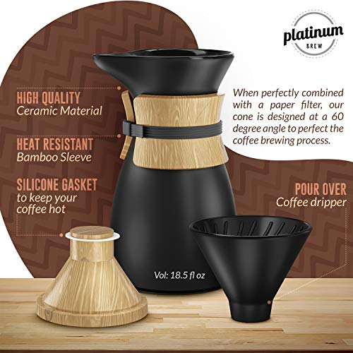 Pour Over Coffee Maker, Ceramic Carafe and Cone Funnel, Bamboo Insulation, 18.5 fl. Oz, 2 Cups, Hand Drip Café Brewer and Slow Brew Pot