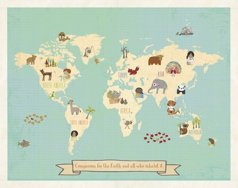 Global Compassion World Map 24x18 Print Children#039s Wall Art Map Kid#039s Animal World Map Nursery Décor Nature Themed Nursery Nursery Wall Art Kid#039s Art Kid#039s Decor Gender Neutral Nursery