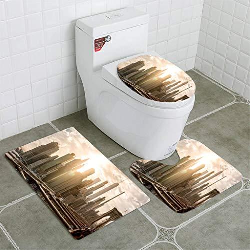 BEISISS Bathroom Mat Sets 4 Piece-Non-Slip - Short Plush Manhattan Skyline from Brooklyn Bridge at Dusk Bathroom Rug + Contour pad + lid Toilet seat+Toilet seat Cushion