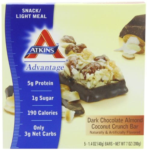 Atkins Advantage Dark Chocolate Almond Coconut Crunch, 5-count Box, Health Care Stuffs