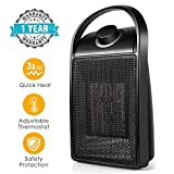 Space Heater, Quiet Ceramic Space Heater with Adjustable Thermostat, Portable Electric Heater Fan with Over-Heat Protection, and Carrying Handle (Black-new2019) (Black-new2019)