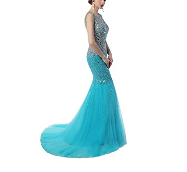 479dc1ef84 Baoqiya Women Mermaid Formal Dresses Amazing Lace Prom Dresses 2018  Backless Spaghetti Strap Long Beads Evening