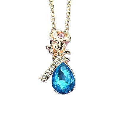 b6d90799688c2 Amazon.com: Alimao Beautiful Rose Drop Crystal Choker Necklace ...