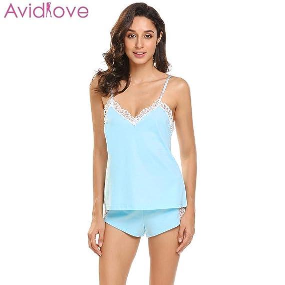 687c5cb6d479 HITSAN Avidlove Women Pajama Set Summer V-Neck Lace Sex Lingerie Set Cami Top  Shorts Pajamas Women Underwear Home Clothes SB Size L  Amazon.in  Clothing    ...