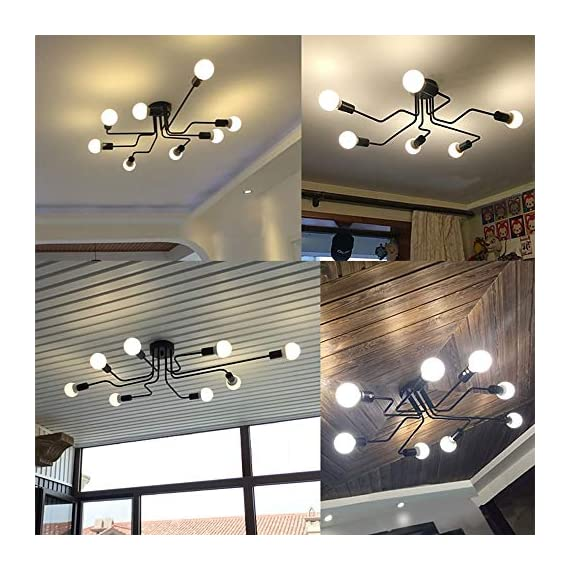 Lingkai Industrial Ceiling Light Vintage Chandelier Metal Pendant Light Creative Retro 8-Light Chandelier Lighting Fixture - ●MATERIAL & DIMENSIONS - Made of metal. Fixture Width: 27.56in (70cm). Fixture Height: 6.3in (16cm). Fixture Length: 43.31in (110cm). Canopy width: 4.72in (12cm) ●BULBS - Bulb Type: LED/CFL/Incandesce. Bulb Base: E26. Wattage Per Bulb: Max 40W. (★The Bulbs are NOT Included) ●EASY INSTALL - Includes all mounting hardware for quick and easy installation. The pendant light design will add a fashionable look, while complementing your room's decor. - kitchen-dining-room-decor, kitchen-dining-room, chandeliers-lighting - 51XO5djTmZL. SS570  -