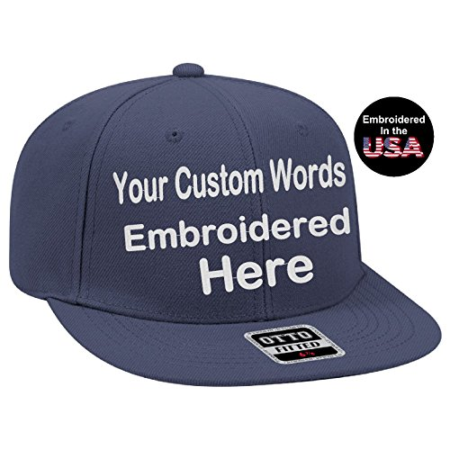 (UNAMEIT Custom Text Embroidered Fitted Hat. Fitted by Size Flat Bill Otto Cap. (7 3/8, Navy))