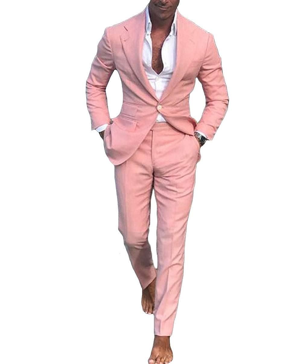 LYXP Men Summer Beach Men Suits Pink Suits for Wedding Ball Slim Fit Groom Best Men Male Suit 2 Pieces