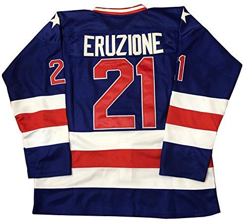 - Kooy Mike Eruzione #21 1980 Miracle On Ice USA Hockey Jersey Blue (Large)