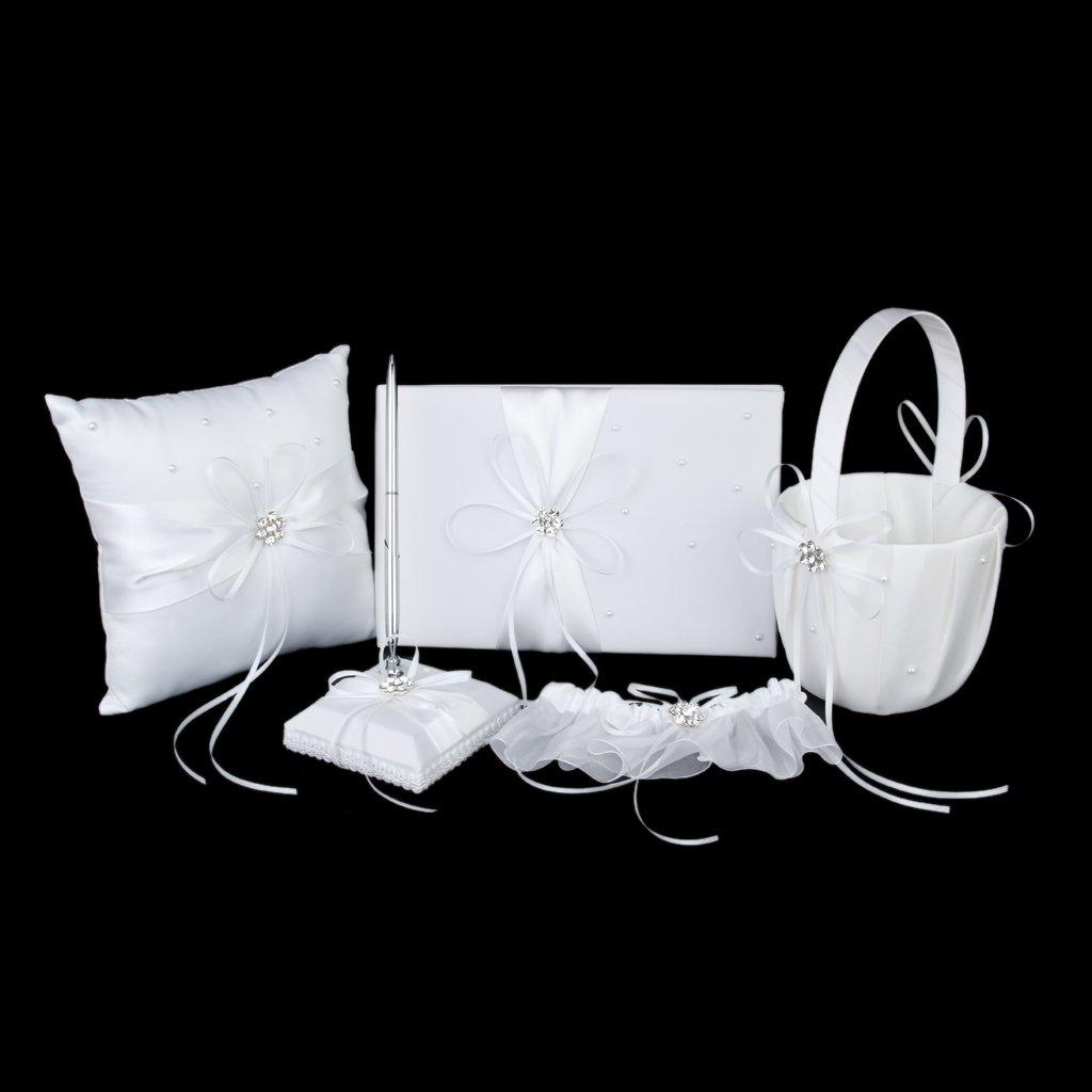 Blanc Accessoires de Mariage Livre dOr Stylo Porte-stylo Oreiller danneau Panier de Fleur et Jarreti/ère