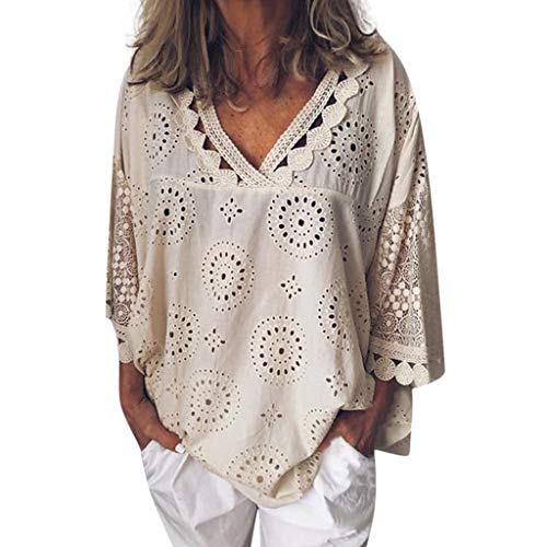 Women 3/4 Sleeve V Neck Hollow Out Floral Print Shirt Tops Long Blouse Tee Lace Patchwork T-Shirt Beige