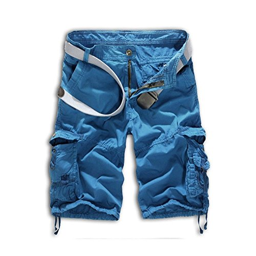 Leward Mens Casual Slim Fit Cotton Solid Multi-Pocket Cargo Camouflage Shorts (34, Blue)