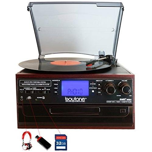 Boytone BT-22C, Bluetooth Record Player Turntable, AM/FM Radio, Cassette, CD Player, 2 built in speaker, Ability to convert Vinyl, Radio, Cassette, CD to MP3 without a computer, SD Slot, USB, AUX