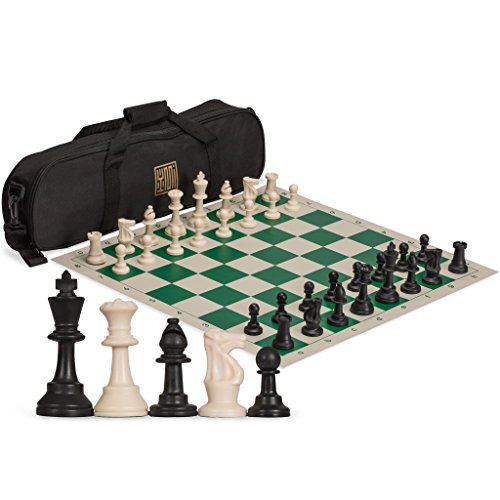 Staunton Regulation Tournament Chess Set with 2 Extra Queens, Weighted Chessmen, Bag, and Roll-Up Vinyl Board with Green & Natural Squares (Chess Rollup Set)