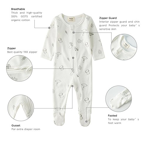 Owlivia Organic Cotton Baby Boy Girl 2 Pack Zip Front Sleep 'N Play, Footed Sleeper, Long Sleeve (Size 0-18 Month)(12-18Months,Star+Mushroom) by Owlivia (Image #1)