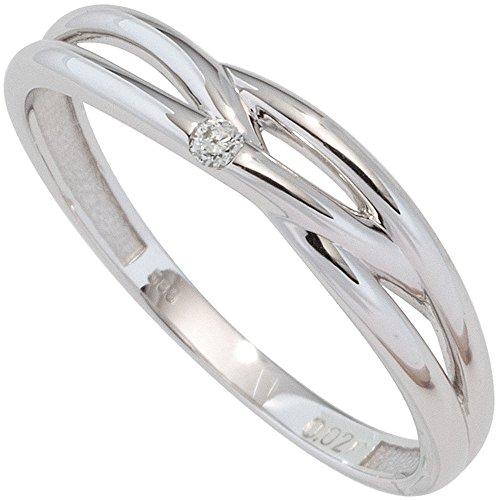 Bague bague pour femme avec diamant brillant en or blanc 585avec motif tressé