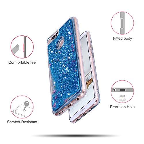 Funda Huawei Honor 7X, Caselover 3D Bling Silicona TPU Arena Movediza Lentejuelas Carcasa para Honor 7X Glitter Líquido Brillar Cristal Sparkle Protección Caso Suave Transparente Claro Bumper Case Cov Azul