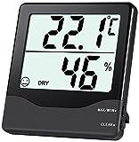Oria Digital Hygrometer Thermometer, Indoor Temperature Humidity Meter-Black