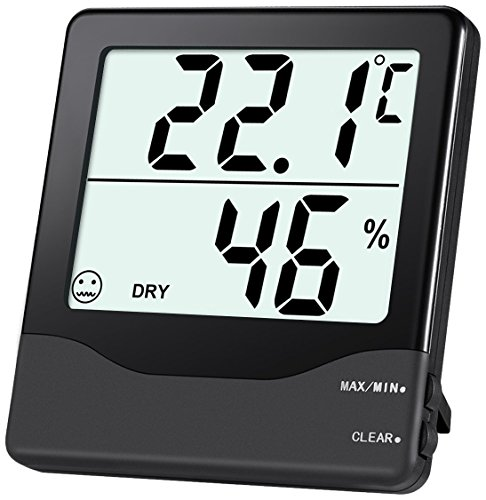 ORIA Digital Hygrometer Thermometer, Indoor Temperature Humidity Meter, Home Comfort Monitor with MIN/MAX Records, Large LCD Screen, ℃/℉ Switch for Home, Office etc.-Black