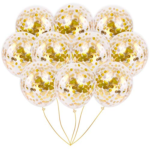 Gold Foil Confetti Balloons | Vibrant Confetti Pre-Filled | Wedding Engagement Birthday Party Events (16 Pack Gold, 18 Inches) ()