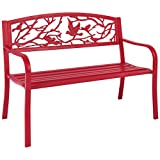 Best Choice Products Steel Park Bench Porch Furniture for Outdoor, Garden, Patio – Red Review