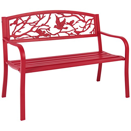 Best Choice Products Steel Patio Garden Park Bench Outdoor Living Patio Furniture, Rose Red (Best Price Garden Furniture)