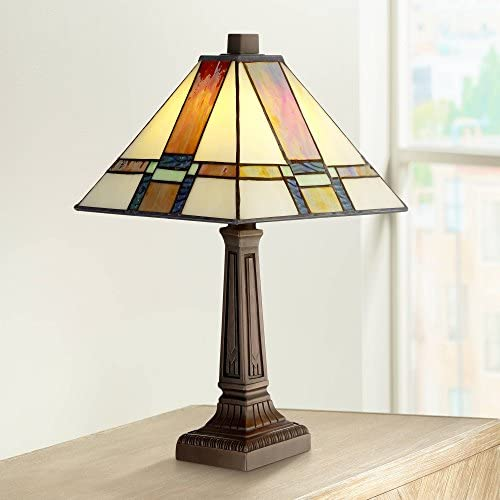 Morris Mission Antique Accent Table Lamp 14 1 4 High LED Art Deco Stained Glass Shade for Bedroom Bedside Nightstand Office – Robert Louis Tiffany
