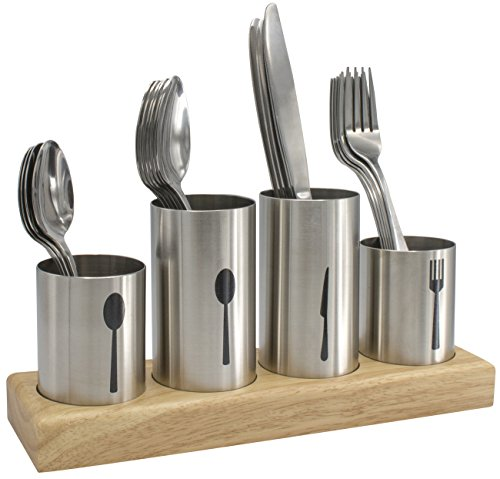 Sorbus Silverware Holder with Caddy for Spoons, Knives Forks, etc — Ideal for Kitchen, Dining, Entertaining, Buffet, Picnic, and more — Stainless Steel with Bamboo Wood Base (Utensils Knives Kitchen)